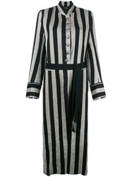 Ann Demeulemeester Striped Long Coat Black