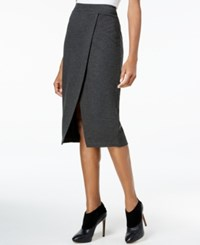 Kensie Faux Wrap Ponte Pencil Skirt Heather Dark Grey