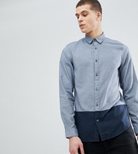 Selected Homme Tall Regular Shirt With Colour Block And Contrast Buttons Dark Blue Navy