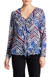 Laundry By Shelli Segal V Neck Long Sleeve Ruffle Print Blouse Blue