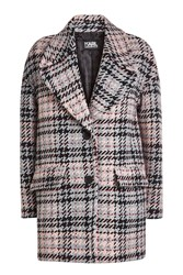 Karl Lagerfeld Oversized Check Coat With Wool Multicolored