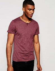 Blend Of America Blend T Shirt Wide Neck One Button Henley Melange Red