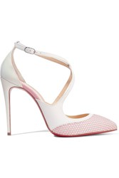Christian Louboutin Crissos Suede Trimmed Fishnet And Patent Leather Pumps White