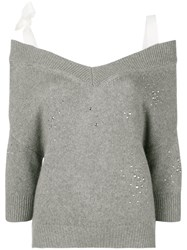 Red Valentino Off The Shoulder Studded Jumper Grey