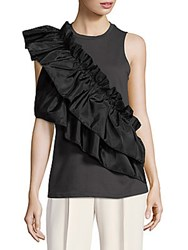 Romeo And Juliet Couture Ruffle Sleeveless Top Grey
