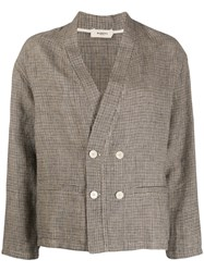 Barena Houndstooth Pattern Double Breasted Blazer 60