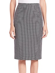 Michael Kors Cotton And Wool Jacquard Pencil Skirt Black White