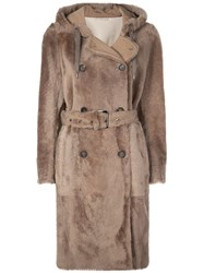 Brunello Cucinelli Double Breasted Hooded Coat Brown