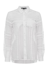 French Connection Summer Cage Jersey Lace Shirt White