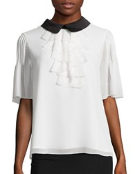 Karl Lagerfeld Short Sleeve Ruffled Collared Top Soft White