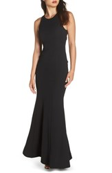Sequin Hearts Ruffle Back Scuba Crepe Gown Black
