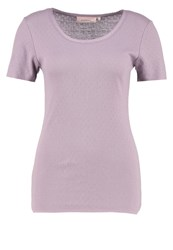 Noa Noa Print Tshirt Gray Ridge Purple