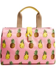 Dolce And Gabbana Pineapple Print Canvas Tote Pink Multi