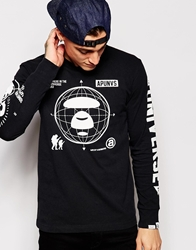 Aape By A Bathing Ape Aape By Bathing Ape Long Sleeved T Shirt With Glow Effect Print Black