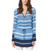 Michael Kors Striped Drawstring Tunic Petite Heritage Blue