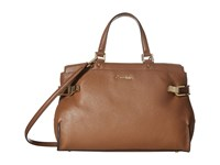 Calvin Klein Pinnacle Pebble Leather Satchel Luggage Satchel Handbags Brown