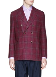 Isaia 'Sailor' Windowpane Check Double Breasted Blazer Red