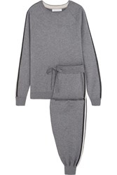 Olivia Von Halle London Striped Silk Blend Sweatshirt And Track Pants Set Gray