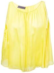 Emanuel Ungaro Pleat Detail Flared Top Yellow And Orange