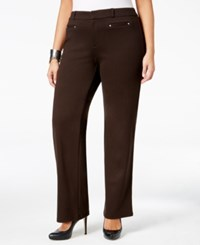 Jm Collection Plus Size Straight Leg Ponte Trousers Only At Macy's Espresso Roast