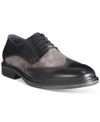 Alfani Zack Mixed Material Wingtip Derby Oxfords Only At Macy's Men's Shoes Black
