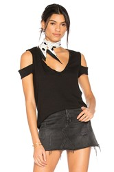 Pam And Gela V Neck Cold Shoulder Tee Black