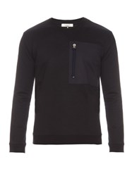 Valentino Patch Pocket Crew Neck Sweatshirt Navy