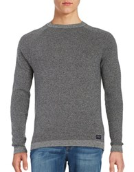 Selected Striped Cotton Knit Sweater Dark Grey