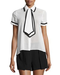 Alice Olivia Oswald Tie Neck Short Sleeve Shirt White Black Multi