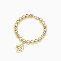 Tiffany And Co. Return To Tiffanytm Small Heart Tag In 18K Gold On A Bead Bracelet. No Gemstone