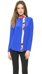 Thakoon Tie Neck Top With Printed Inset Cobalt