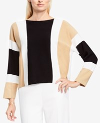 Vince Camuto Colorblocked Dolman Sleeve Sweater Rich Black