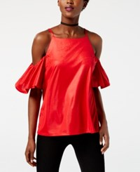 Inc International Concepts Petite Cold Shoulder Top Created For Macy's Real Red