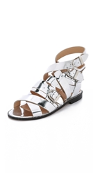 Iro Xoey Flat Sandals Lame Argent