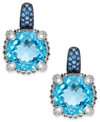 Macy's Blue Topaz 8 3 4 Ct. T.W. And Swarovski Zirconia Accent Earrings In Sterling Silver