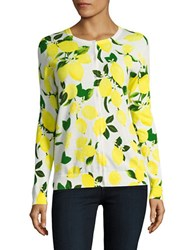 Lord And Taylor Limoncello Printed Cardigan White