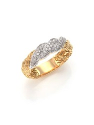 John Hardy Classic Chain Diamond And 18K Yellow Gold Twisted Band Ring Gold Silver
