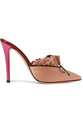 Marco De Vincenzo Ruched Satin Mules Antique Rose