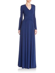 St. John Draped Long Sleeve Dress Sapphire