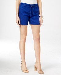 Inc International Concepts Linen Belted Shorts Only At Macy's Goddess Blue