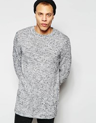 Cheap Monday Crew Jumper Astro Knit Longline Grey Melange Fleck Grey
