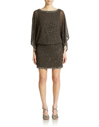 J Kara Petite Beaded Boat Neck Dress Slate Mercury