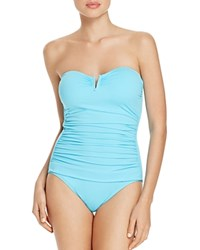 Tommy Bahama Pearl V Wire Bandeau One Piece Swimsuit Turquoise