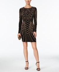 Xscape Evenings Beaded Bodycon Dress Black