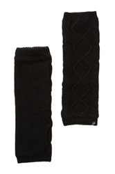 Plush Cable Knit Fleece Lined Armwarmers Black