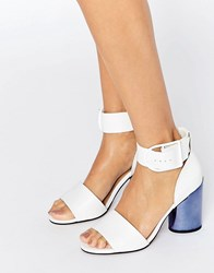Asos Hold On Premium Leather Heeled Sandals White