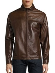 Isaia Solid Leather Jacket Brown