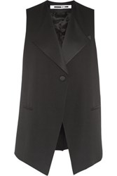 Mcq By Alexander Mcqueen Satin Trimmed Wool Crepe Vest Black