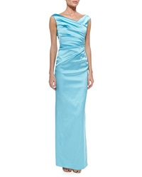 Talbot Runhof Colly V Neck Side Ruched Gown Aqua