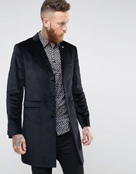 Noose And Monkey Velvet Overcoat Black